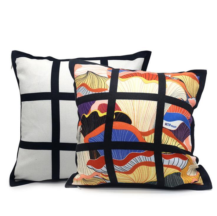 Blank Sublimation Pillow Case 40*40cm Black Grid Heat Transfer Throw Cushion Cover Home Sofa Pillowcases CCA12601 60pcs