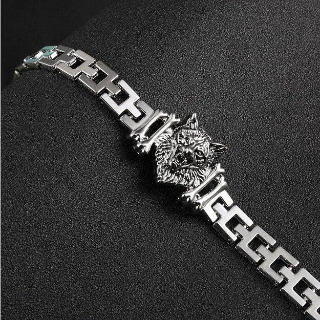 Neue Ankunfts-Mann-Edelstahl-Armband-byzantinischen Stil Männer Schmuck Accessoires männlich Leopard Wolf-Kopf Charm Armband Zw0Q #