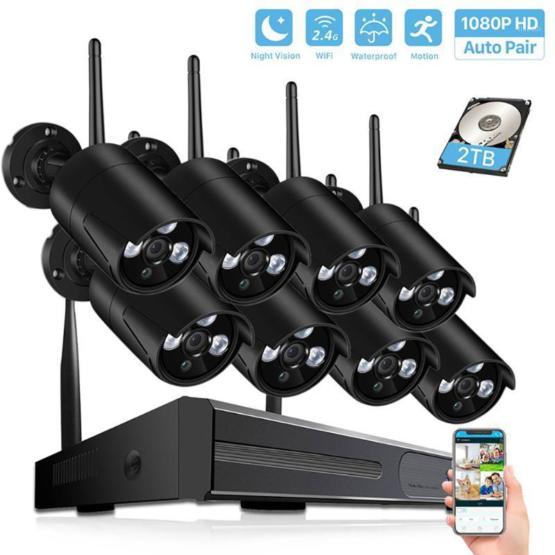 4CH/8CH CCTV System Wireless 1080P H.265 NVR 2.0MP Outdoor Waterproof Wifi Security1080P Camera System Surveillance Kit1
