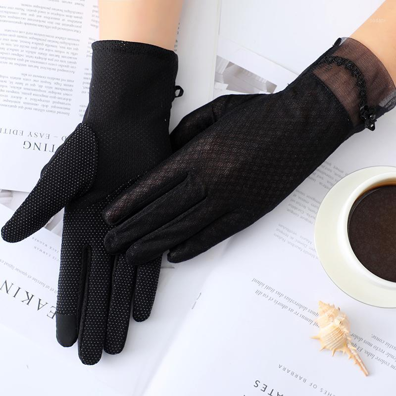 Women Lace Sunscreen Gloves Summer Lady Elegant Stretch Touch Screen Glove Breathable Anti Uv Slip Resistant Driving Gloves1