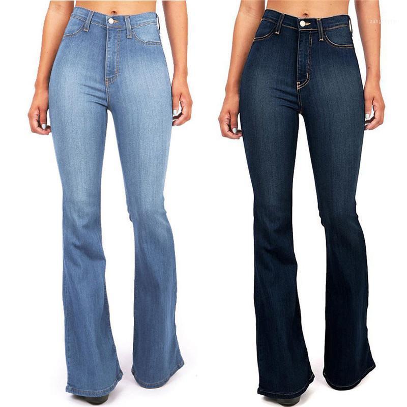 Новая осень высокая талия женские джинсы длинные голубые брюки женские высокие талии кармана широко нога джинсы расклешенные узкие брюки ZD1