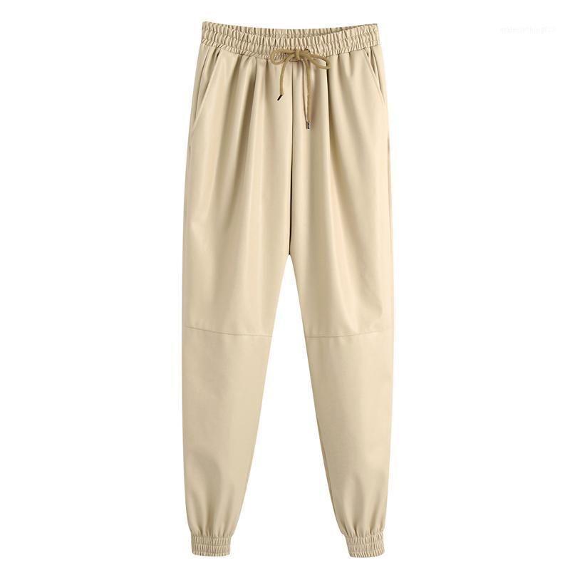 Hadara Casual Elástico Cintura Pantalones Mujeres Moda PU Pantalones de cuero Pantalones Mujeres Elegante Tobillo suelto Pantalones con bandas Femeninas IJ1