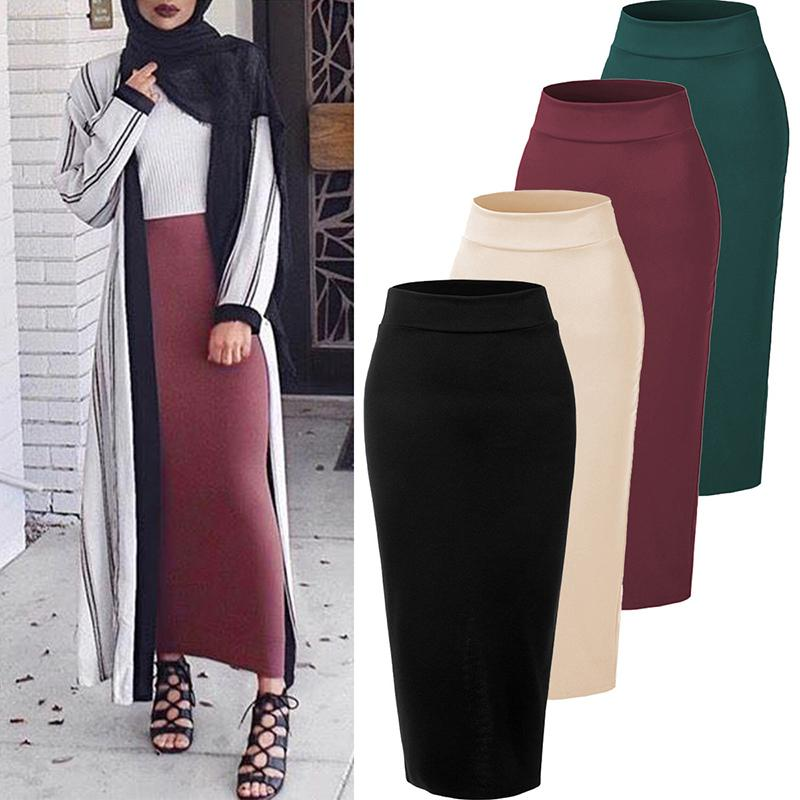 Plus Size Faldas Mujer Moda 2020 Winter Abaya Muslim Long Skirts Womens High Waist Bodycon Maxi Skirt Jupe Longue Femme Clothes