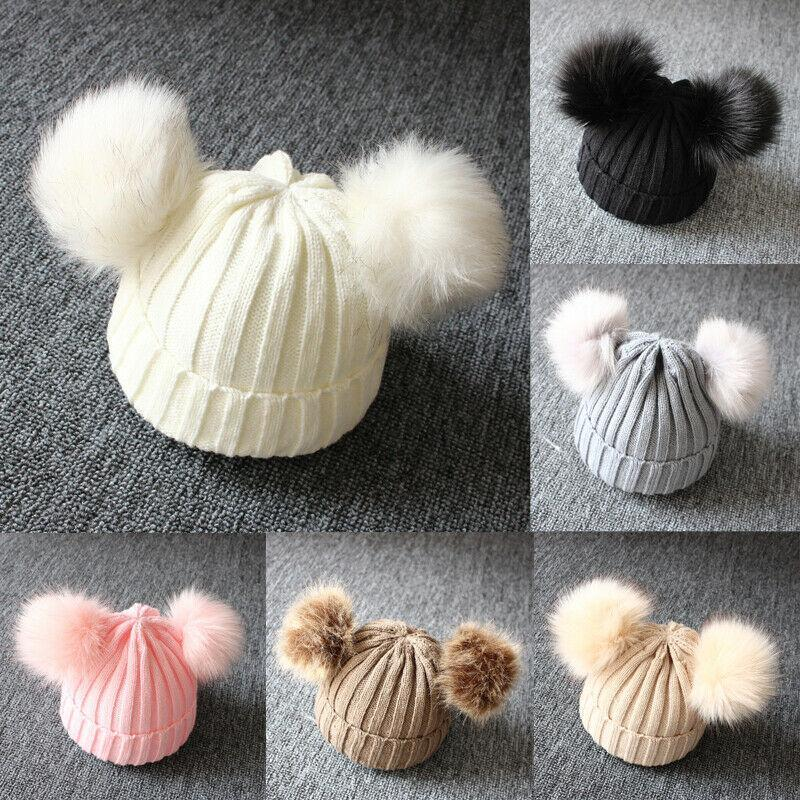 Caps & Hats 2021 Brand Born Baby Kids Girls Boys Winter Warm Knit Hat Furry Balls Pompom Solid Cute Lovely Beanie Cap Gifts