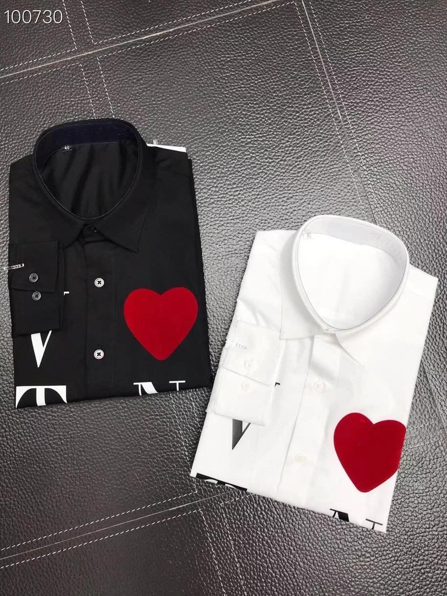 Shirt mit vlovetn druck dress shirt mens designer shirts weiß schwarz dünn langarm männer arbeitshemd lässig importiert paris marke kleidung