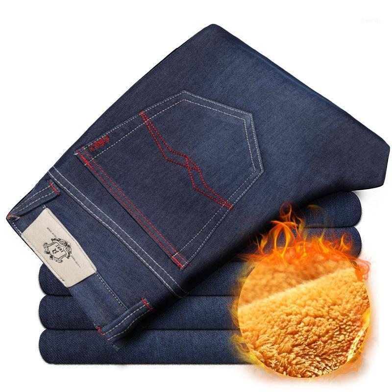 Mens hiver épaissir un jean denim extensible en molleton chaud pantalon de pantalon de pantalon taille 32 33 34 35 36 38 40 421