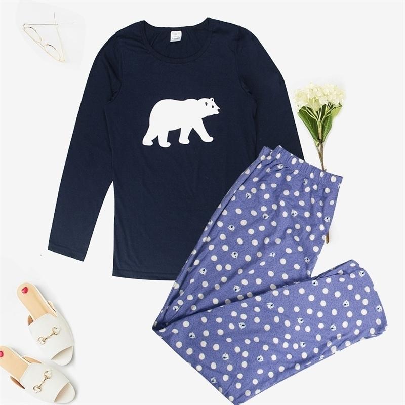Mukatu pour Sleelewear 100% coton Pajama Femmes Automne Imprimé Mignon 2 pièces Ensemble de pyjama