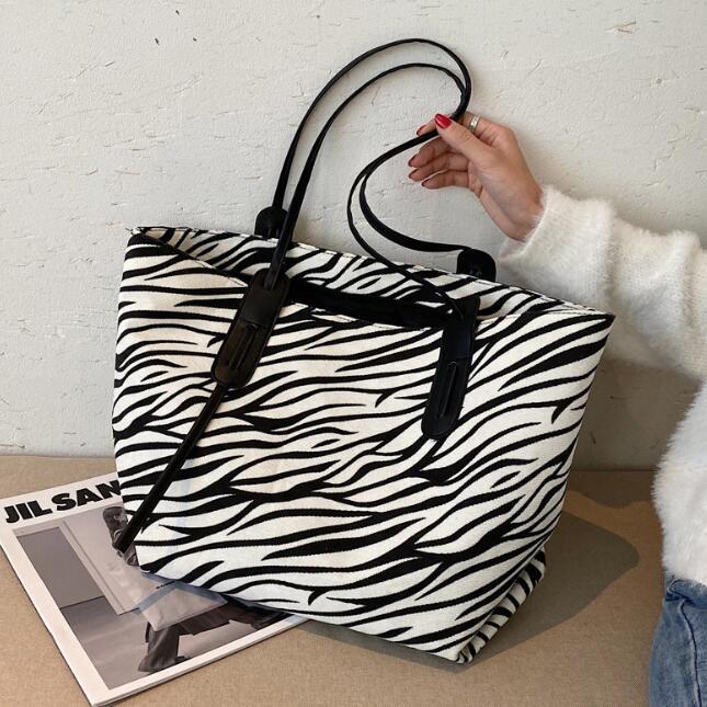 3pcs femmes toile zèbre léopard Imprime grande capacité Sac Totes