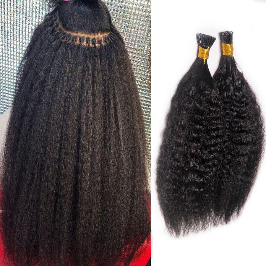 Бразильская Kinky прямой I Совет Micro ссылка 100% Remy выдвижение человеческих волос девственница 4B 4C I Совет человеческих волос Natural Black 1g s