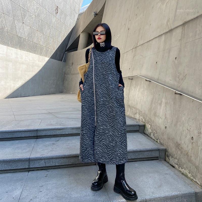 Chaleco de lana femenino sin mangas cebra impresión larga chaleco chaqueta otoño invierno tendencia media longitud media cremallera negro dividido chaleco