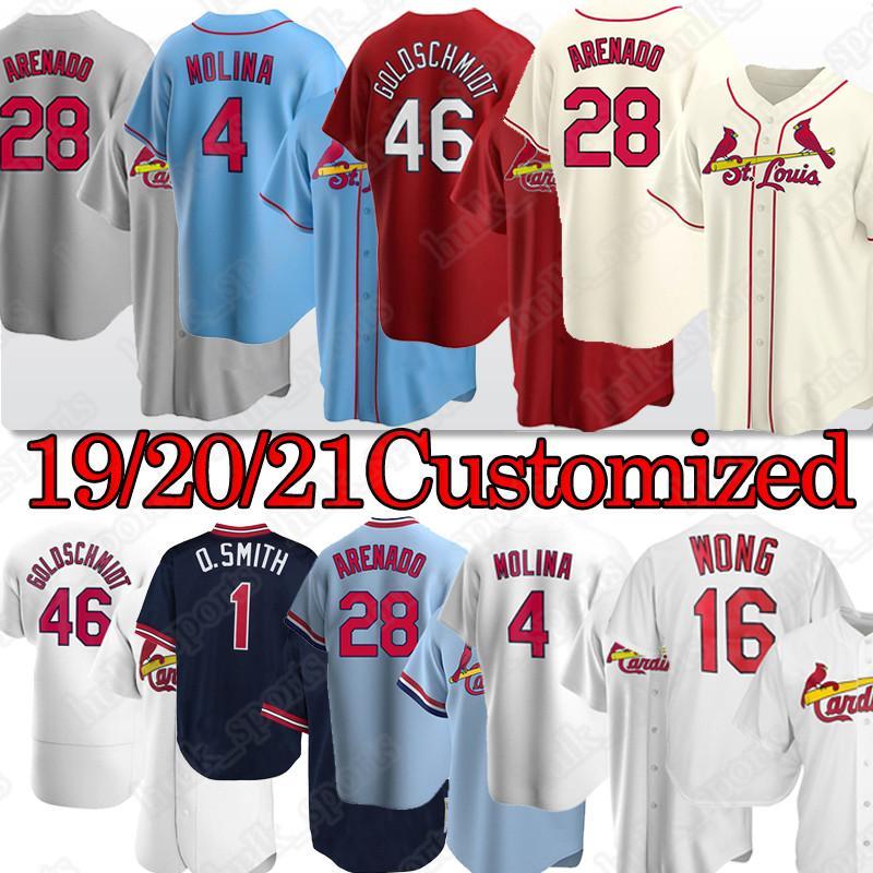 St. Louis Cardinals 28 Nolan Arenado Cardeal Baseball Jersey 4 Yadier Molina 46 Paul Goldschmidt 1 Ozzie Smith 13 Matt Carpinteiro Personalizado Tukameng2016