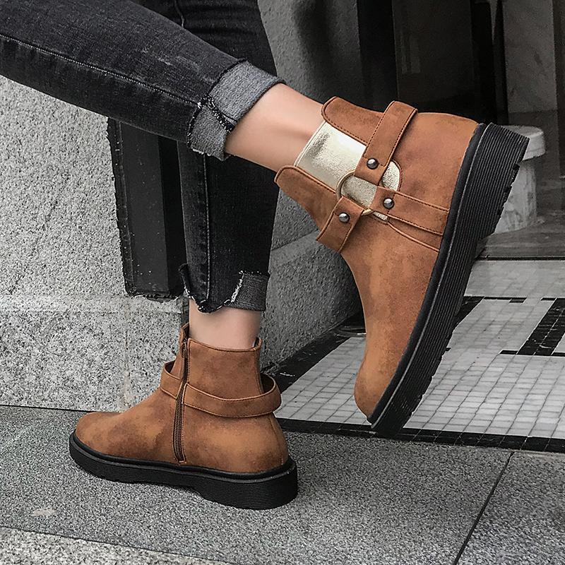 2021 Теплые продажи женские размеры женские 22-28 см Длина осенью и зимняя сторона горячая все матч короткие ботинки сома