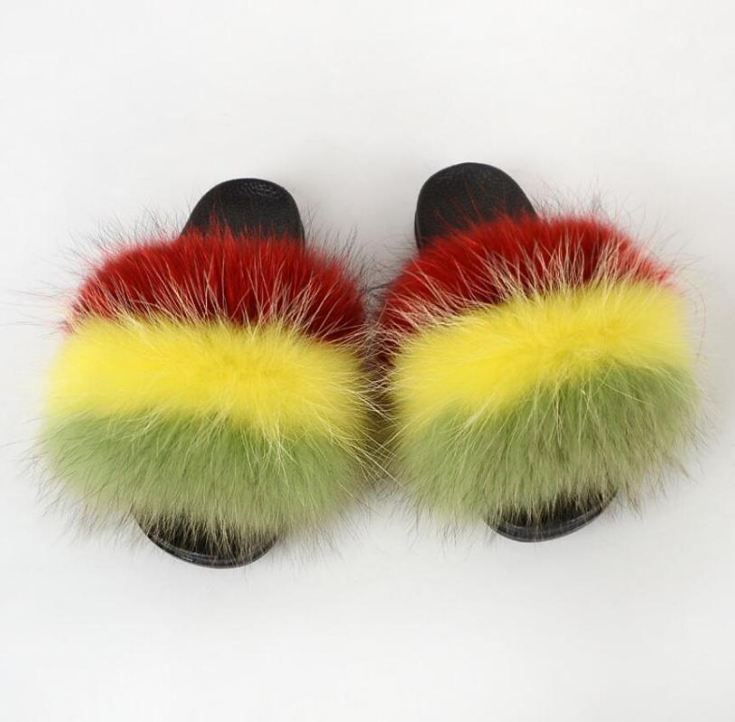 Frauen Winter Waschbär Pelz Hausschuhe Flauschige Fellfolien Plüsch Warme Folien Sandalen Mode Outdoor