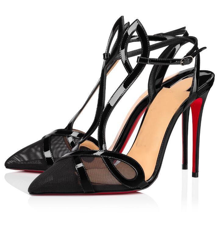 Сексуальные женщины Насосы Остроконечные Toe Кружевные Женская обувь Двойной L насос лодыжки ремень высокие каблуки сетки кожа стилет каблук с коробкой, EU43