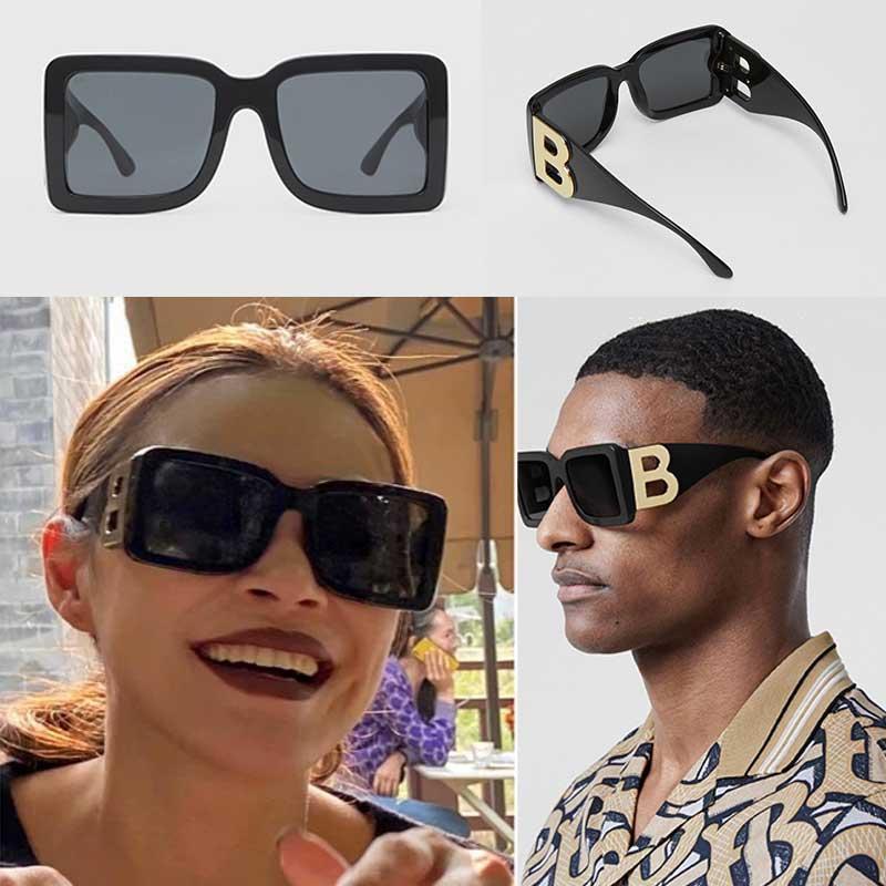 2020 neue Saison weibliche Designer-Sonnenbrille quadratische Platte Rahmen große Doppel B Brief Beine einfach UV400 Mode-Stil Brille B4312 mit Kasten