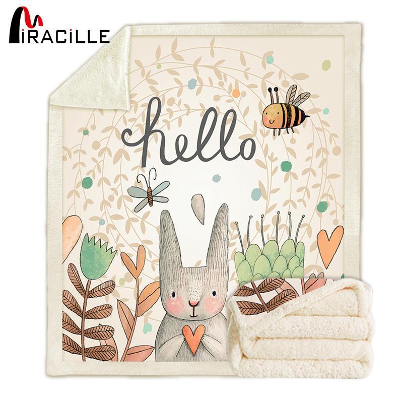 Miracille Sherpa Fleece Kaninchen Print-Decken-super warme weiche Dekorative Wurfdecken auf Schlafsofa Kinderzimmer Bedspread