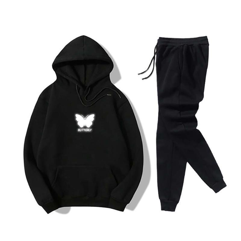 Survêtements pour les femmes à capuche Sweatpants Set papillon réfléchissant Imprimer Pantalon Sweat Casual deux pièces de sport de survêtements