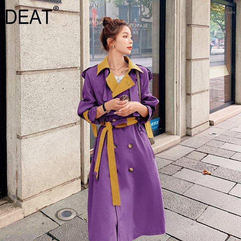 Deat 2020 Treffer Farbe lila Solid Revers Kragen mit Gürtel Slim Trenchcoat Frauen High Street Double Button 2020 Neue Herbst HT3781