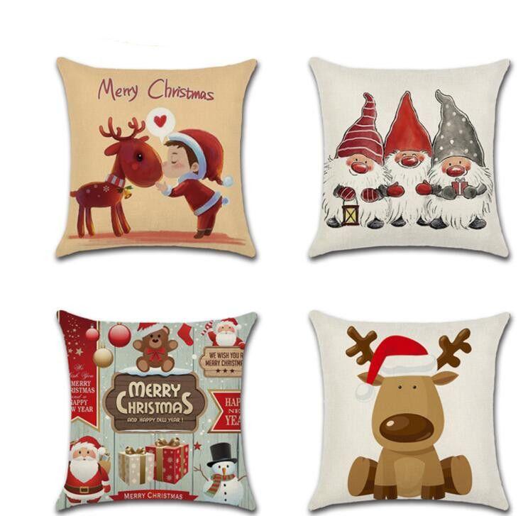 Pillowcase Christmas Santa Claus Elk Pillow Case Christmas Cartoon Print Pillow Case Sofa House Simple Christmas Decoration EWB2528