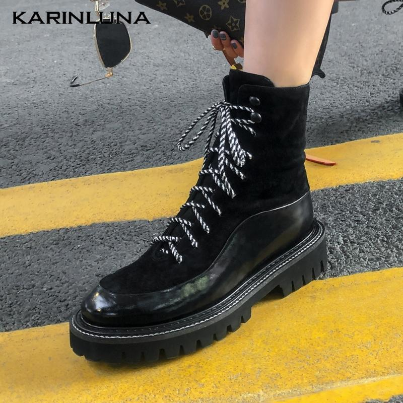 Karin 2020 women shoes Patchwork Flat Platform Ankle Boots Casual Genuine Leather Round Toe Cross-tied Autumn Female Boots