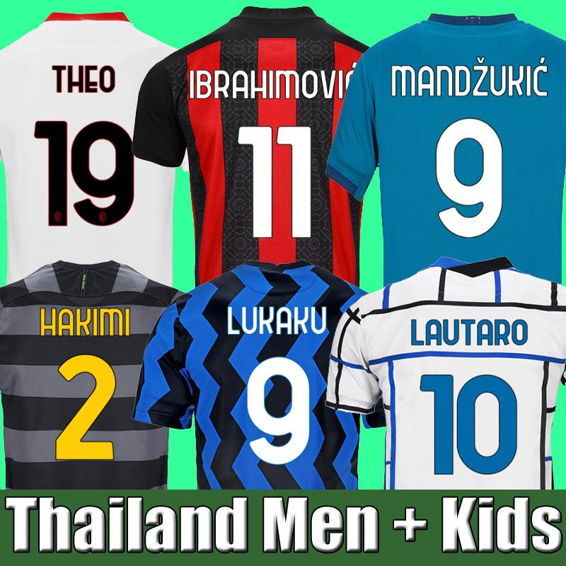 IBRAHIMOVIC THEO MANDZUKIC 20 21 AC milan camiseta de fútbol LUKAKU LAUTARO inter milan 2020 2021 camisetas de fútbol camiseta conjuntos para niños ERIKSEN TONALI BRAHIM