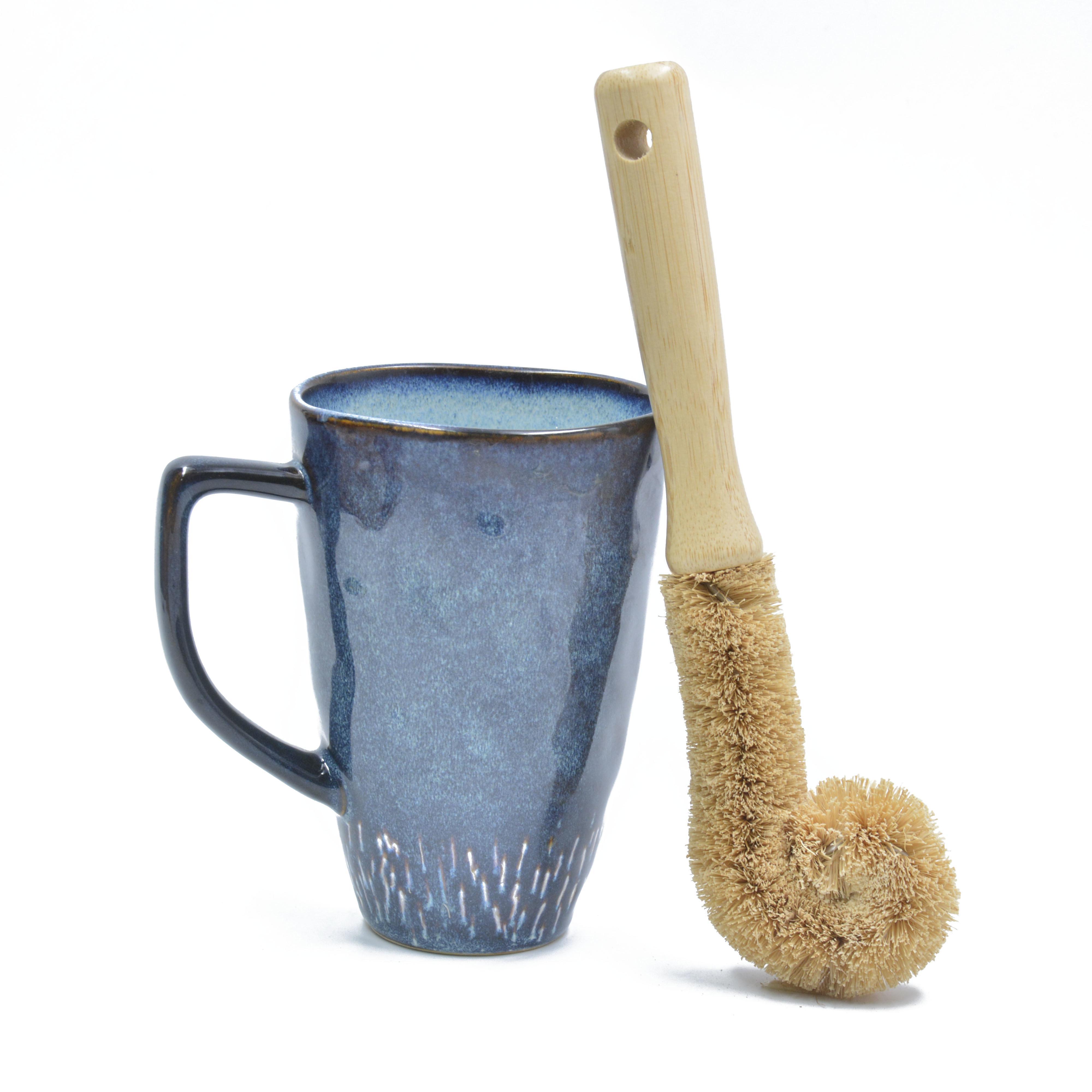Kokosnuss-Palm Bambus Holzbürste Lange Griff Baby Flaschenbürste Küchentasse Waschbürste Glas Dekontamination Helfer