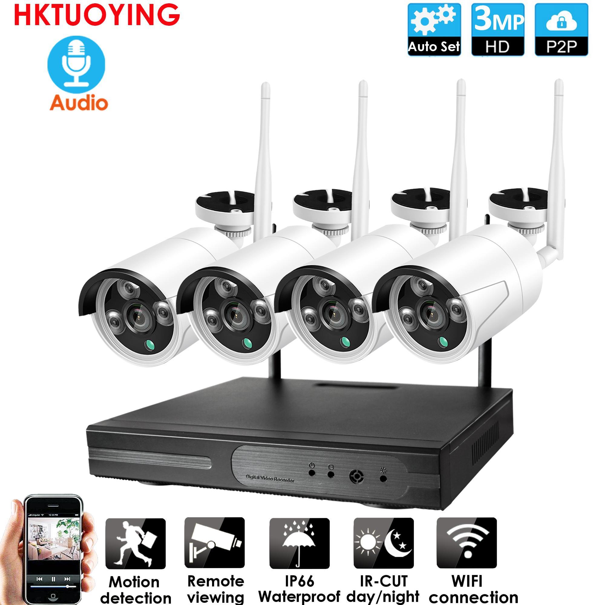 4CH 3.0MP Audio CCTV System wireless 1080P NVR Recorder 3.0MP IR Outdoor P2P WiFi IP 720P Audio CCTV Security System Surveillance Kit