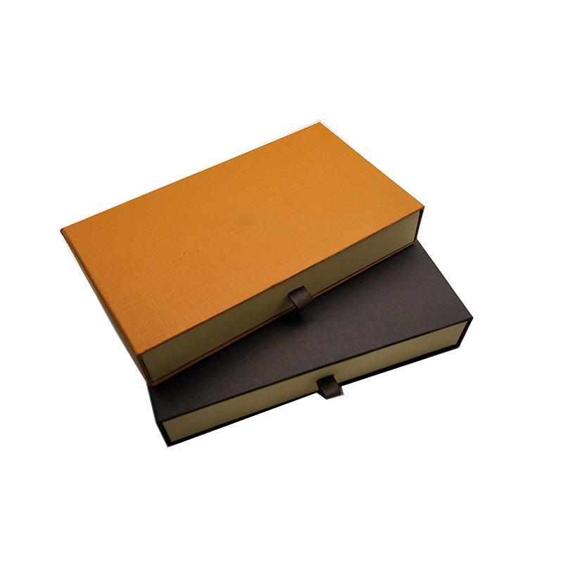 العلامة التجارية هدية درج صناديق التعبئة والتغليف لبطاقة الورق المحفظة الطويلة القهوة البرتقال التجزئة مربع التعبئة للأزياء والمجوهرات الملحقات 21 * 12 * 3.7 سنتيمتر