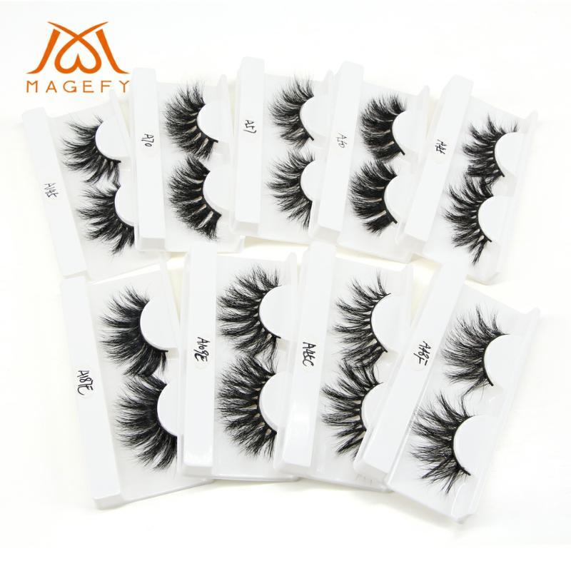 10 çift 25mm 3D Vizon Saç Yanlış Eyelashes Çapraz Wispy 25mm Uzun Kirpikler Uzatma Cilt Sahte Makyaj Vizon Eyelashes Kirpikler