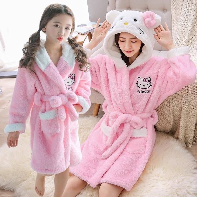 Mamá y yo pijamas ropa cálida nightgroad franela baño bata de dibujos animados kimono túnicas vestido vestido niña adultos bathrobes 201128