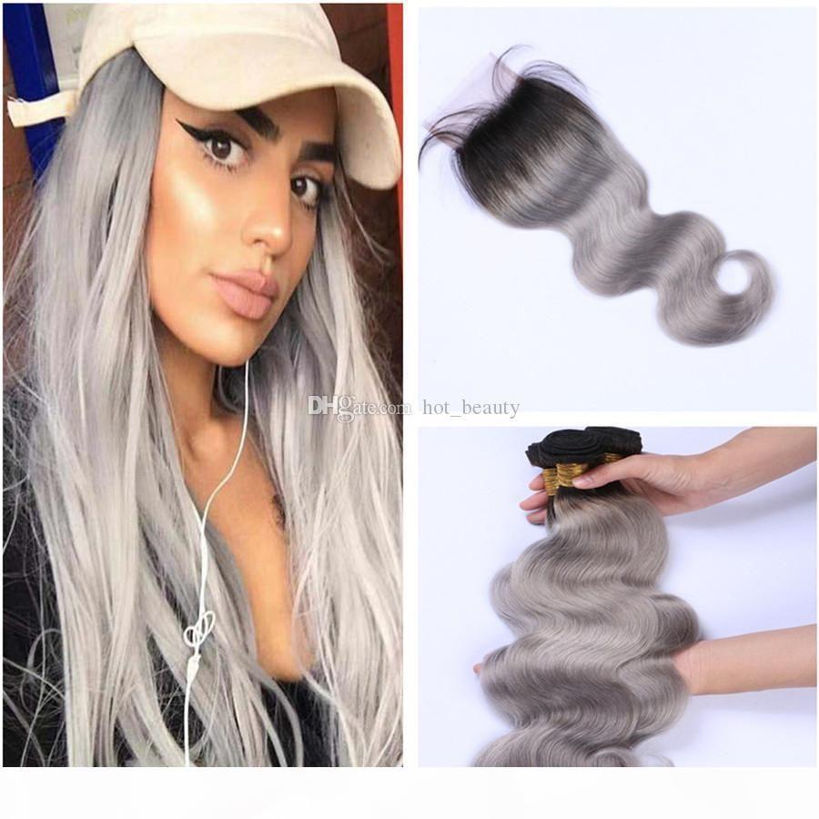 Kapatma iki sesi 1B Gri Brezilyalı insan saç uzantıları ile Kapatma Vücut Dalga Sliver Gri Ombre 3 Paketler ile Ombre Gri Paketler