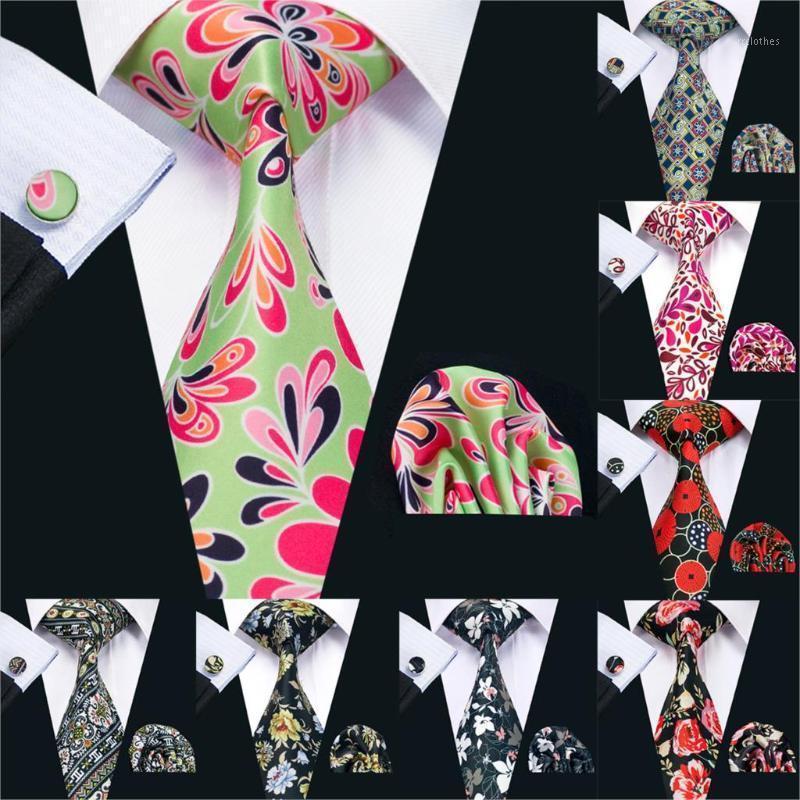 2020 barry.wang 20 couleurs 8,5 cm Imprimer Craviche Paisley Handky Boutons de manchette Ensemble de soie verts Cravates de soie pour hommes Business Ps-201 PS-201