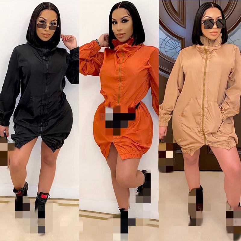 Vestidos de Outono Cool Zipper Mulheres vestido com mangas vestido split moda mais novo casaco 2020-2021 bolso e front longo curto sólido uohok