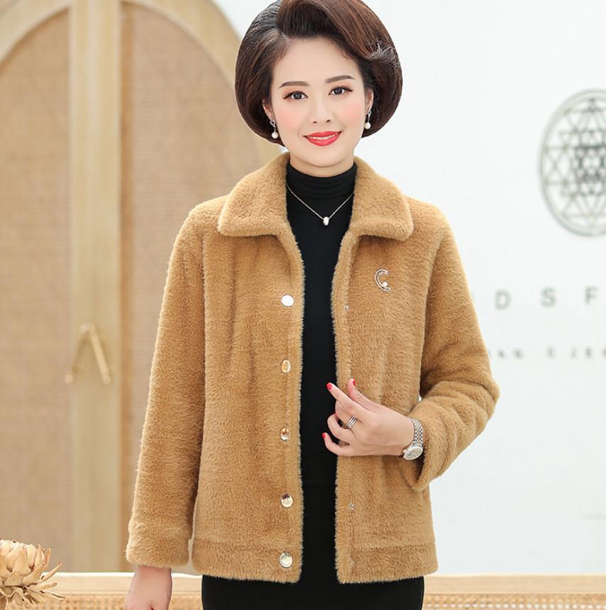 Giacca di mezza età autunno e inverno della giacca invernale in pile spessa calda cappotto di lana monopetto a grande dimensione t625