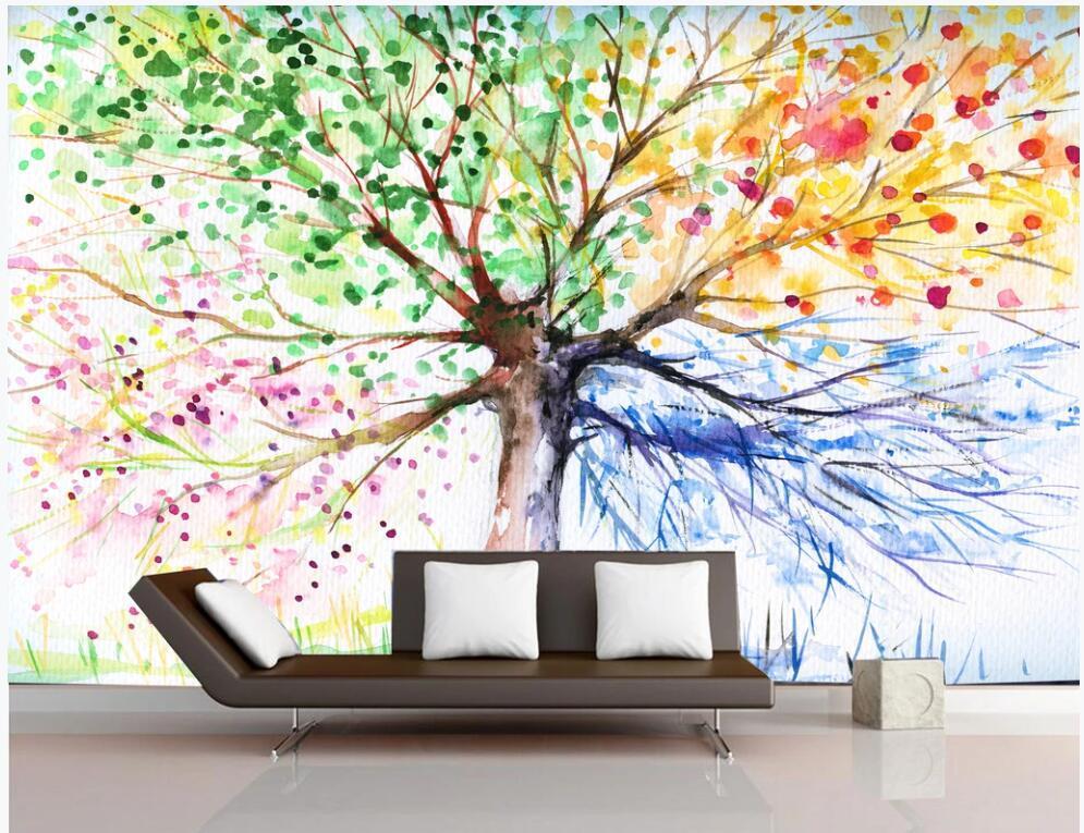3d wallpaper foto personalizada HD pintados à mão grande árvore durante todo o ano de sala de estar de decoração para casa murais de parede papel de parede 3D para paredes 3 d