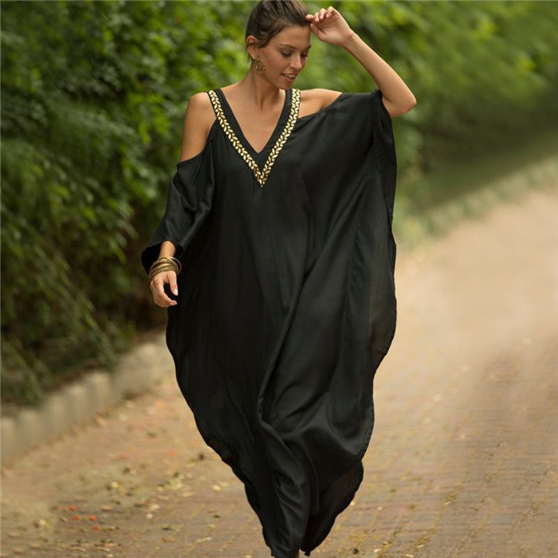 2020 Seksi Soğuk Omuz V Yaka Yarasalar Kol Gevşek Yaz Plaj Giydirme Plus Size Kadınlar Beachwear Kaftan Siyah Pamuk Elbise N943