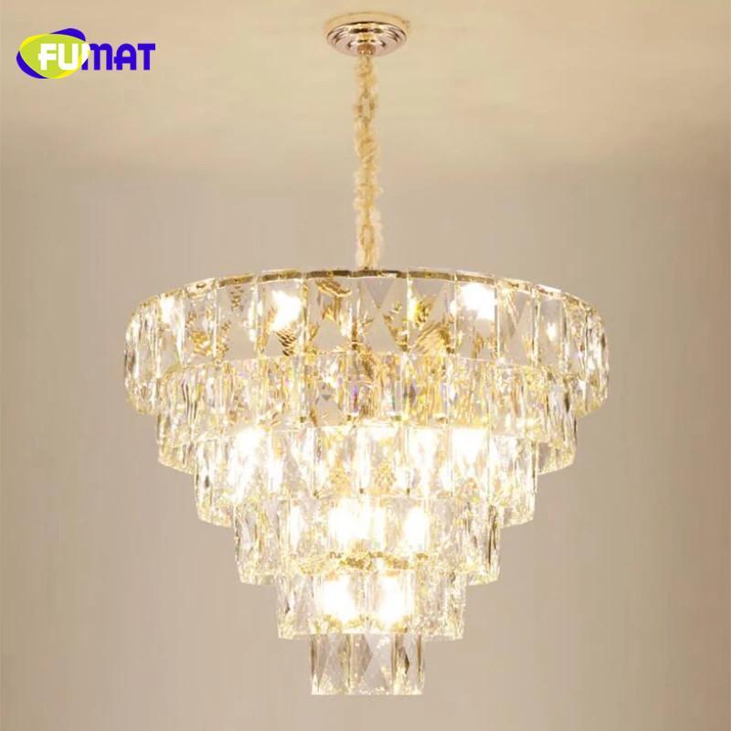 FUMAT Luxury atmosphere K9 crystal lamp postmodern light luxury living room lamp 2019 new lighting hotel restaurant crystal chandelier