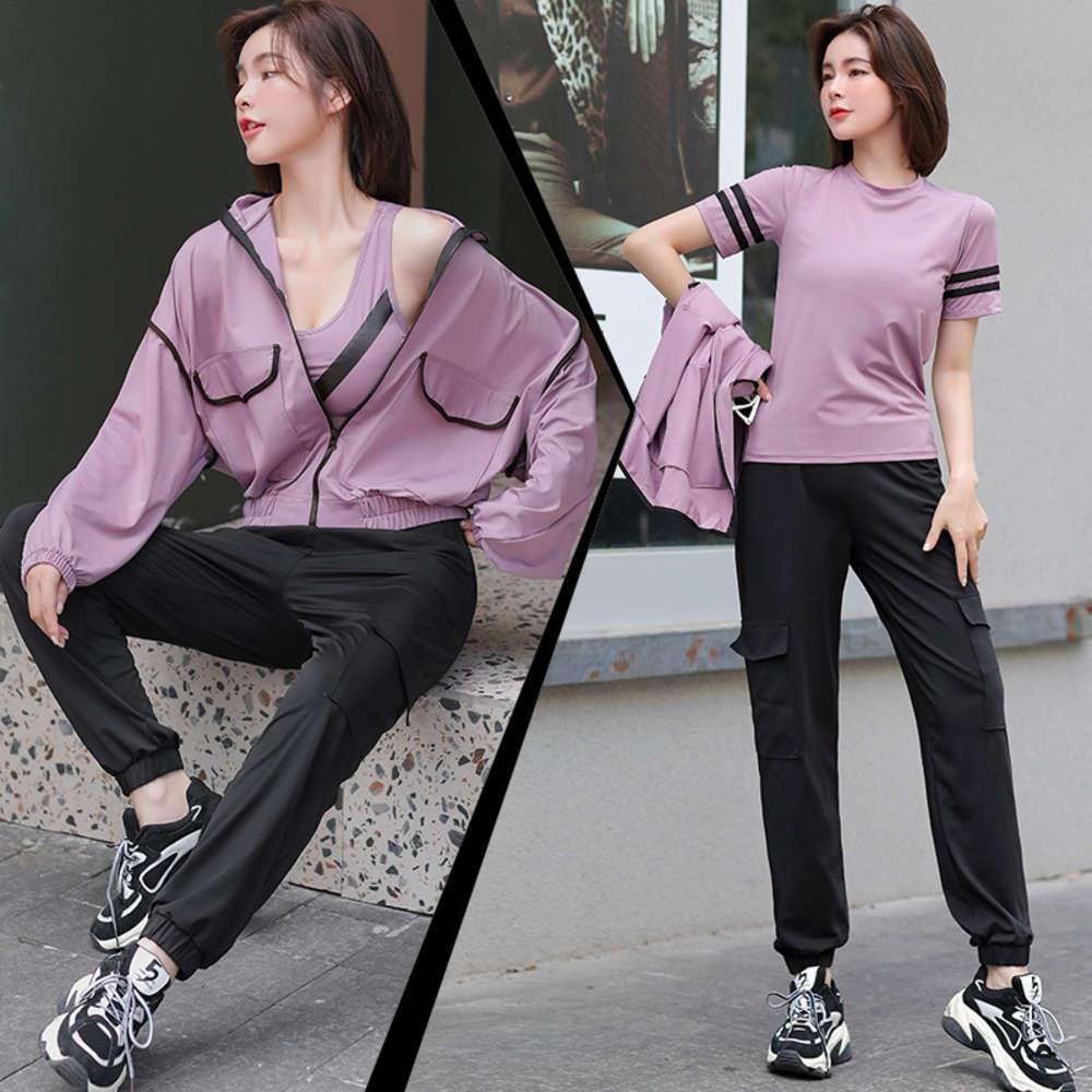 Новые YOGA Женские и увеличенные карманные пальто мода спортивные четырех частей фитнес-костюм
