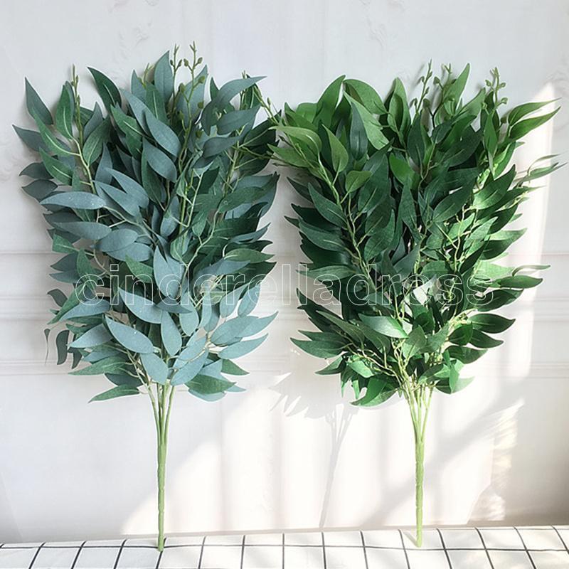 Sauce artificial Ramo de hojas falsas para el hogar Navidad Decoración de la boda Jugle Fiesta Willow Vine Follaje Follaje Plantas San Valentín Día Regalos