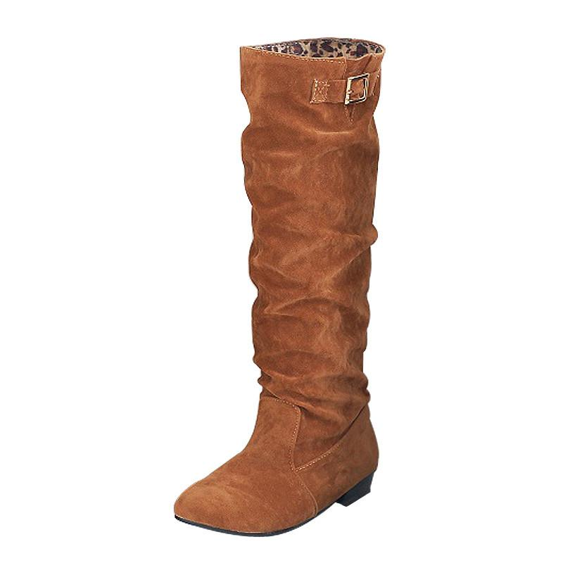 Winter loafers European and American ladies plus knee-high boots for women with low heels size 34-43 autumn