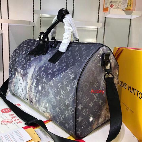 # 3455 5A L keepall bandoulière gran capacidad de viaje Bolsa de Mujeres 50CM Galaxy Taiga V hombres de hombro Bolsos de tela llevar el equipaje del bolso M44166