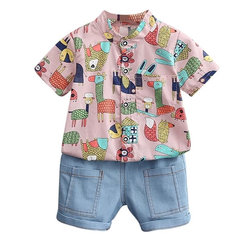 Летний детский костюм для мальчиков для мальчиков Устанавливает детские футболки с коротким рукавом + короткие брюки из двух частей Baby Set23 201126