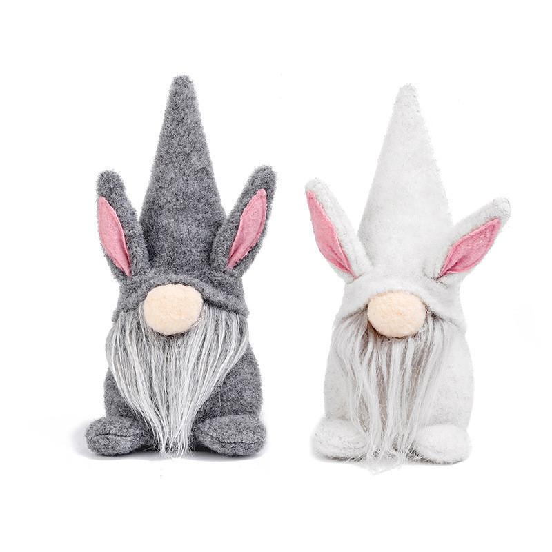 Easter Bunny Gnome Grey White Faceless Bunny Zwerg Puppe Kinder Ostern Kaninchen Spielzeug Home Büro Tischdekoration