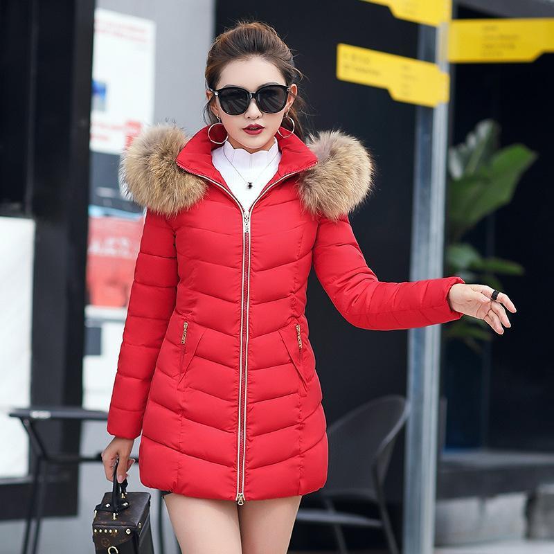 2020 Büyük Kürk Yaka Coat Kadınlar Sıcak Pamuk Aşağı Ceket Kadın Uzun Kollu Dış Giyim ile Fermuar Orta Boy Tops Artı boyutu 6XL