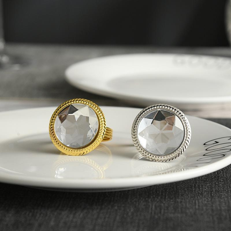 Кольца салфеток 10 шт. / Металлическая имитация Кристалл Алмазное кольцо Золото и серебро Держатель Столешнее Украшение для западных вечеринок