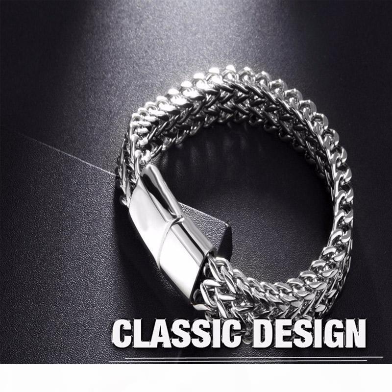 Aço inoxidável pesado pulseiras por Homens Punk estilo Charme Pulseiras Double Layer Cadeia pulseira de aço Braid Bangles Homens Jóias