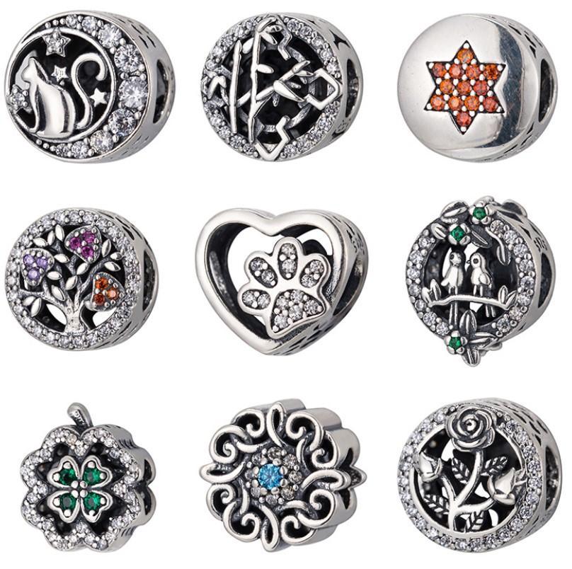 Nueva joyería plateada pura suelta perlas, moda europea y americana S925 Pure Silver Love Beads, abalorios de pulsera de plata