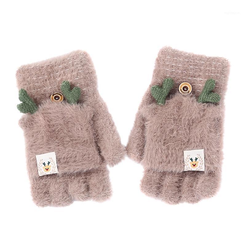 خمسة أصابع قفازات النساء القط مخلب نصف فنجر أفخم الشتاء الدافئ سمكا لطيف القفازات هدية 1
