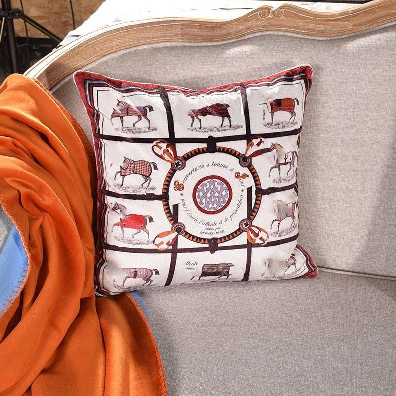Almohada de cojín de lana suave de lujo de la corte europea puede coincidir con la letra H manta vendiendo caliente almohada decorativa