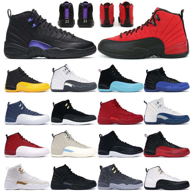 Mens basketball shoes 12s jumpman 12 Dark Concord University Gold Stone Blue Reverse Flu Game Dark Grey men sports sneakers trainers outdoor